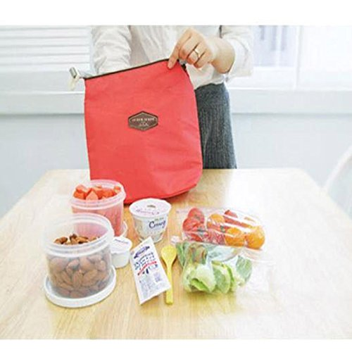 HighlifeS Lunch Bag Waterproof Thermal Fashion Cooler Insulated Lunch Box More Colors Portable Tote Storage Picnic Bags (Red) by HighlifeS (Image #2)