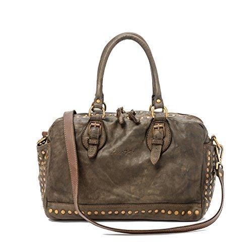 Ira Del Valle, Sac pour femme, en cuir véritable vintage à clous, fabriqué en Italie, modèle de sac Lima, grande main et épaule avec sac à bandoulière Femme fille Marron