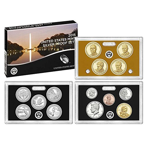 - 2015 S US Mint 14-coin Silver Proof Set Box & COA Proof