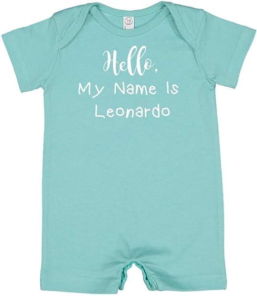 Mashed Clothing Hello My Name is Leonardo Personalized Name Baby Romper