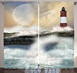 Lighthouse Decor Curtains by Ambesonne, Big Wave Over Lighthouse and Ocean Life Coastal Nautical View, Window Drapes 2 Panel Set for Living Room Bedroom, 108 X 84 Inches, Ivory Blue and Gray For Sale