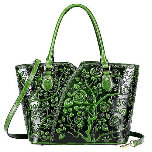 Drop Purse - PIJUSHI Designer Handbags For Women Floral Purses Top Handle Satchel Handbags (22328 Green)