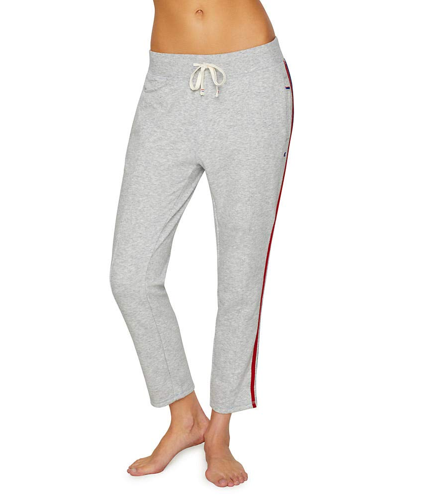 Champion Women's Heritage Warm Up Ankle Pant, Oxford Grey Heather/Imperial Indigo Small