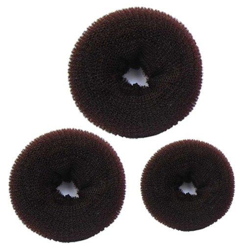 SaveGoodBuy@Bundle 3 Pieces Hair Chignon Donut Bun Maker (1 Large,1 Medium,1 Small) (Brown)