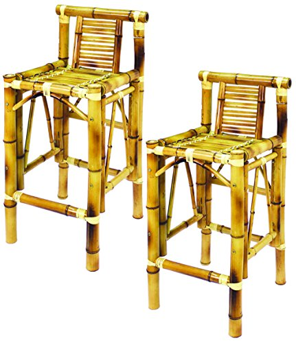 RAM Gameroom Products 28-Inch Bamboo Tiki Bar Stools (Set of -