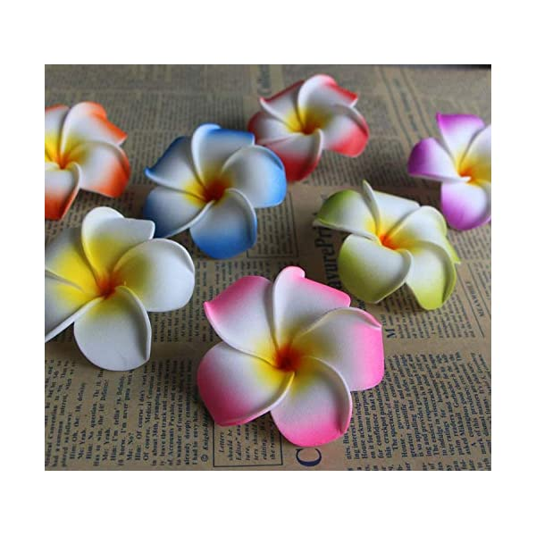 YingY store 10Pcs/lot Plumeria Hawaiian Foam Frangipani Artificial Flower Headdress Flowers Egg Flowers Wedding Decoration Party Supplies,Blue,6cm