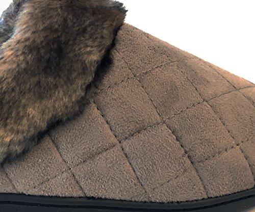 Isotoner Da Donna Con Cappuccio In Microsuede Con Dettagli In Pelliccia Color Panna Fumé Taupe