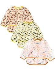 Jolik 3 Pack Waterproof Long Sleeve Bib, Breathable Baby Bib for Eating, Stain and Odor Resistant Weaning Bib