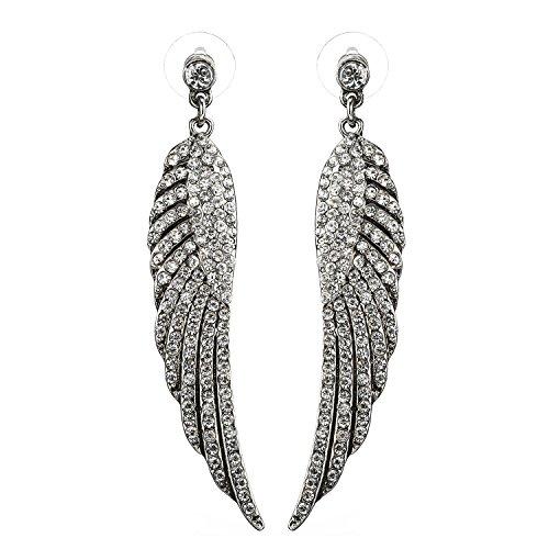Fashion Earrings Display Wings Stud Earrings Austrian Crystal Angel Wings Drop Dangle Earring Jewelry for Women Gift ()