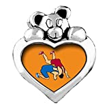 Olympics Wrestling posture Red Siam Crystal January Birthstone I Love You Heart Care Bear Charm