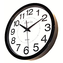 Wall Clock, Linear Co. Large Black and White Silent Wall Clock Non-ticking 12 30cm Large Easy to Read Modern Executive Decorative Practical Analog Quartz Sweep Movement Round Stylish