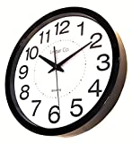 """Wall Clock, Linear Co. Large Black and White Silent Wall Clock Non-ticking 12"""" 30cm Large Easy to Read Modern Executive Decorative Practical Analog Quartz Sweep Movement Round Stylish"""