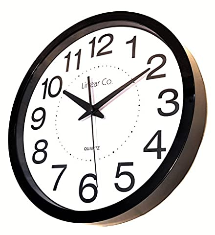 Wall Clock, Linear Co. Large Black and White Silent Wall Clock Non-ticking 12
