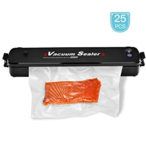 Vacuum Sealer Machine, Moer Sky Food Saver Vacuum Sealer, Multifunction Automatic Vacuum Sealer for Food Preservation, Led Indicator Lights, 25pcs Sealing Bags