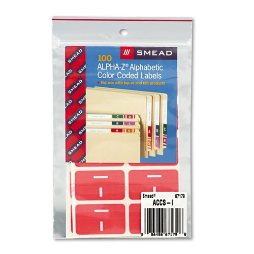 Smead Products - Smead - Alpha-Z Color-Coded Second Letter Labels, Letter I, Pink, 100/Pack - Sold As 1 Pack - Use as a secondary label with name labels, or use as primary coding labels. - Wraparound labels are readable from both sides of file folder tabs