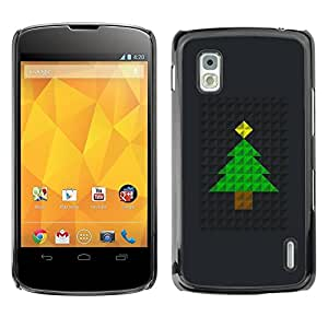 Be Good Phone Accessory // Dura Cáscara cubierta Protectora Caso Carcasa Funda de Protección para LG Google Nexus 4 E960 // Tree Christmas Polygon Black Metal