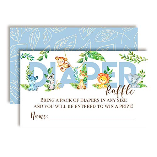 Watercolor Jungle Animals Diaper Raffle Tickets for Boy Baby Showers, 20 2
