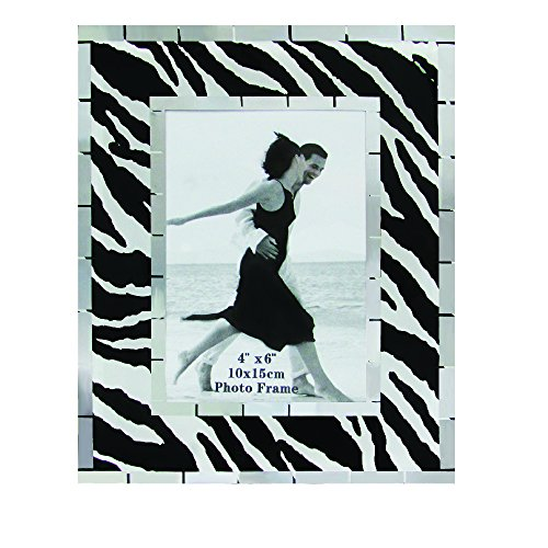 Rockin Gear Picture Frame Glass Zebra Print Design Wall and Table Top Photo Frame - Holds a 4