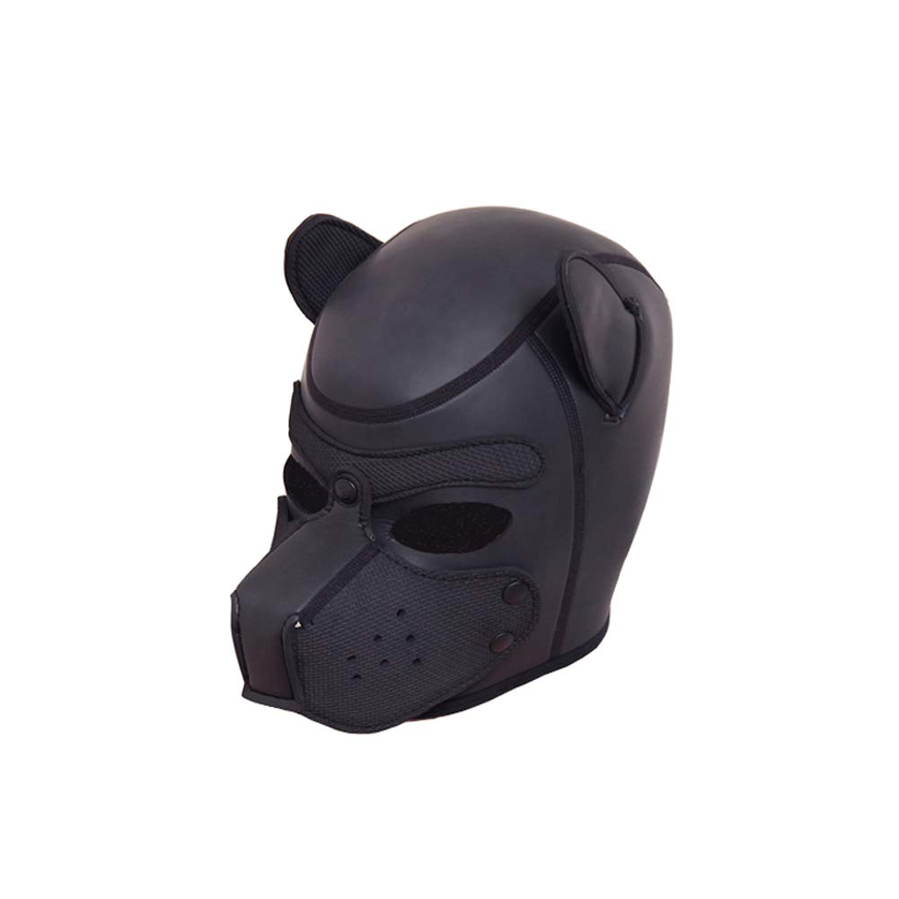 Black Dog Head Mask - Adult Role Playing Obedient Dog Headgear, One Size - Couple Sex Toys ZBSY