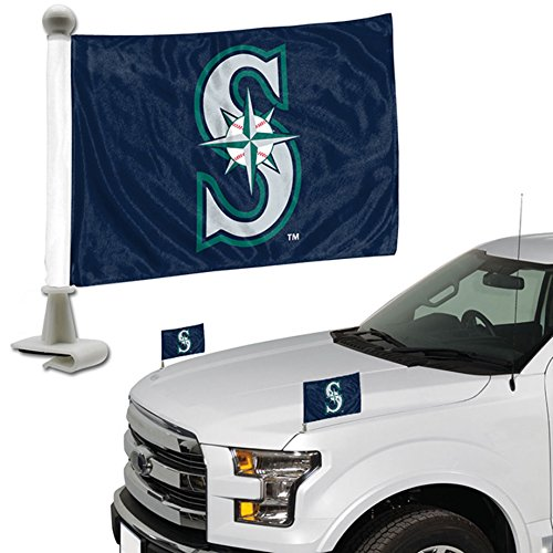 ProMark Seattle Mariners 2-Pack Ambassador Style Auto Flag Car Banner Set Baseball 2 Seattle Mariners Car