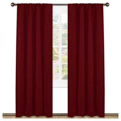 Captivating NICETOWN Burgundy Curtains Blackout Drapes   Home Decorations Thermal  Insulated Solid Blackout Living Room Curtains/