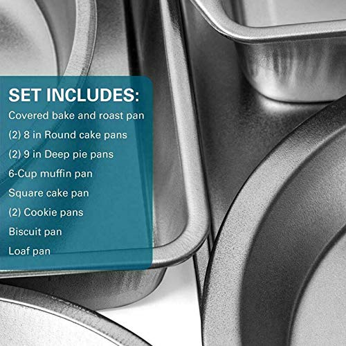 Bakeware Set Stainless Steel Non-Stick Pizza Pan Sheet Bake Cake 12-Pc Kitchen by ARABYAN BROTHERS (Image #1)