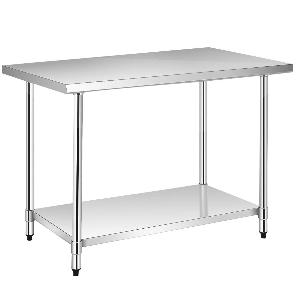"WATERJOY 48"" x 30"" Stainless Steel Food Prep Table, NSF Commercial Kitchen Food Prep Worktable & Workstation, Adjustable Shelf"