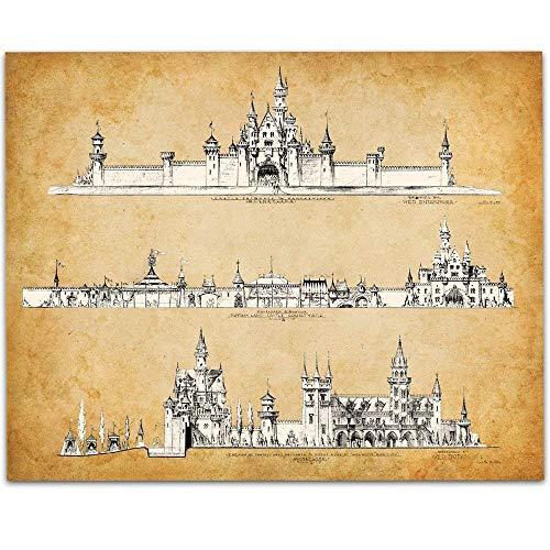 Disneyland Castle Concept - 11x14 Unframed Art Print - Great Gift Under $15 for Disney Fans