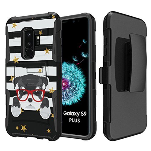 - Capsule Case Compatible with Samsung Galaxy S9 Plus [Hybrid Dual Layer Combat Full Armor Style Kickstand with Holster Combo Case Black] for Samsung Galaxy S9+ Plus - (Miniature Schnauzer)