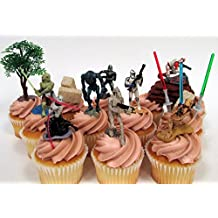 "STAR WARS 14 Piece CUPCAKE Topper Set Featuring Storm Troopers, Soldiers, Kit Fisto and Asajj Ventress, Themed Decorative Accessories, Figures Average 1.5"" to 2' Tall"