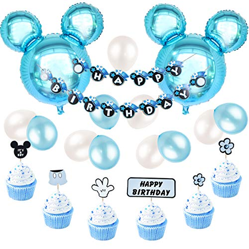 JOYMEMO Mickey Mouse Birthday Decorations for Boys, Happy Birthday Banner and Mickey Cupcake Toppers for Blue Birthday Party Supplies