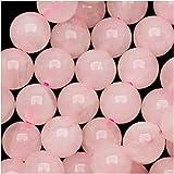 Beadaholique SPQR-06 Rose Quartz Gemstone Round Pink Beads, 6mm