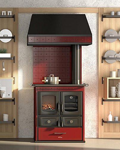 Cocina económica de leña Bordeaux con campana – Cocina de leña con puerta de hierro fundido, cristal del fuego Cerámico, Cámara de combustión de piedra refractaria, horno inoxidable, Aire Primario ajustable, cajón,