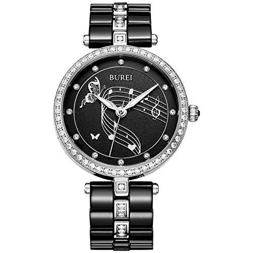 - BUREI Women Watch Dress Classic Design for Ladies Wristwatch with Ceramic Band (Black)