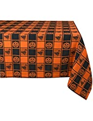 Halloween Table Cloth diy table cloth halloween party Dii 100 Cotton Machine Washable Dinner Fall Halloween Tablecloth 60x84 Black Orange Check With Jack O Lantern Seats 6 8 People