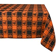DII 52x52 Square Cotton Tablecloth, Black & Orange Check Plaid with Cat & Jack O' Lantern - Perfect for Halloween, Dinner Parties and Scary Movie Nights
