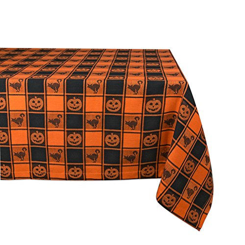 "DII 60x84"" Cotton Tablecloth, Black & Orange Check Plaid with Cat & Jack O' Lantern - Perfect for Halloween, Dinner Parties and Scary Movie Nights"