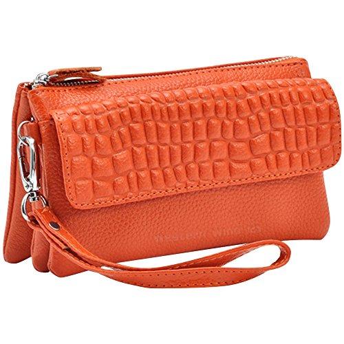 Wocharm Soft Leather Women's Large Capacity Leather handbags Wristlet Wallet Clutch With Shoulder Strap Wrist Strap Fit IPhone 6/7 Plus Orange