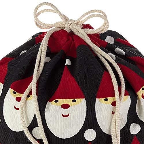"Hallmark Drawstring Christmas Gift Bag Set (2 Fabric Bags with Drawstrings; 1 Medium 10"", 1 Extra Large 20"") Santa, Red and White Stripe"