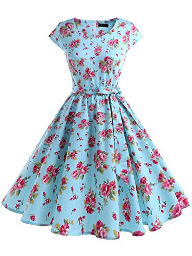 IVNIS RS90013 Women's Vintage 1950s Floral Print Cap-Sleeve Rockabilly Prom Dresses with Pockets Blue Red Flower (40s Dress Costume)