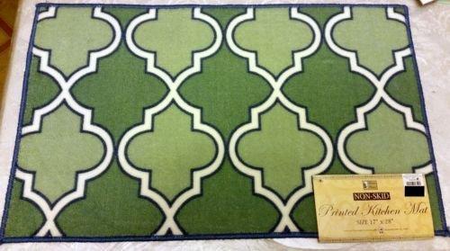 The Pecan Man Greenishパターン、Printedキッチンラグ( Non Skid Back、1pcs 17