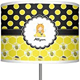 """RNK Shops Honeycomb, Bees & Polka Dots 13"""" Drum Lamp Shade Polyester (Personalized)"""