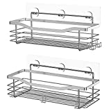 Orimade Shower Caddy Basket with 5 Hooks for Hanging Razor and Sponge Bathroom Organizer Shelf Kitchen Storage Rack Wall Mounted Adhesive No Drilling SUS304 Stainless Steel - 2 Pack