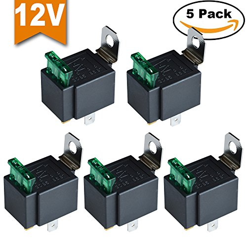 Ehdis Fused Relay On/Off 12V 30A Automotive 4-Pin Fuse Mounting Base Socket SPST Metal Normally Open Car Motor Automobile, Pack of 5 (Frame Relay Switching)
