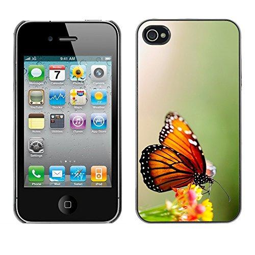TopCaseStore / caoutchouc Hard Case Housse de protection la Peau - Wings Butterfly Flower Green - Apple iPhone 4 / 4S