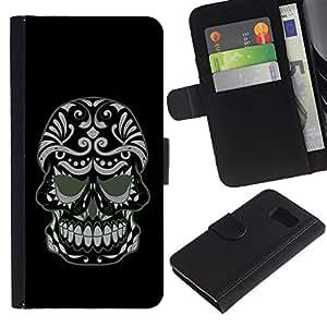 KLONGSHOP // Tirón de la caja Cartera de cuero con ranuras para tarjetas - Enfriar malvada del cráneo del azúcar - Samsung Galaxy S6 //