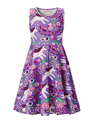 Leapparel Baby Girls Happy Birthday Purple Dress Pretty Cartoon White Horse Patterns Aunturm Clothes Stretch Comfy Round Neck Princess Dress 4-5T