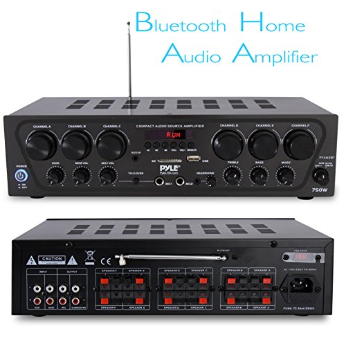 Bluetooth Home Audio Amplifier System - Upgraded 2018 6 Channel 750 Watt Wireless Home Audio Sound Power Stereo Receiver w/ USB, Micro SD, Headphone, 2 Microphone Input w/ Echo, Talkover for PA - Pyle by Pyle (Image #1)