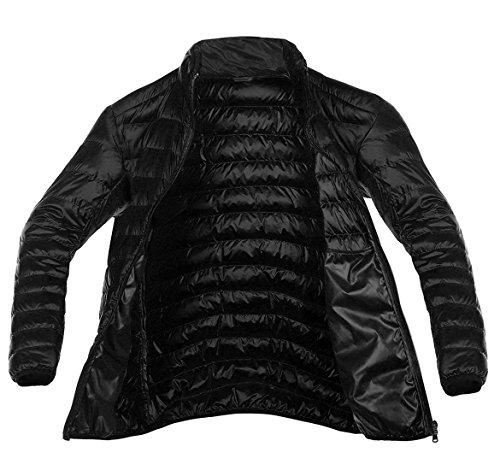 Chouyatou Men's Full Zipper Packable Ultra Light Weight Puffer Down Jacket Black