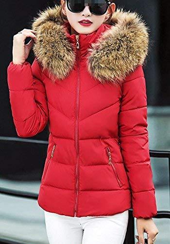 Elegantes Invierno Moda Con Mujer Retro Rot Capucha Outdoor Grande Piel Manga Outwear Slim Chaqueta Caliente De Espesar Plumas Talla Fit Acolchada Larga Pluma AnpqwOOx57